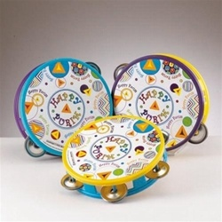 Happy Purim Tambourine Noisemakers - Set of 3