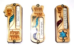 Wooden Car Mezuzah with Traveler's Prayer
