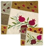 Pomegranates Raw Silk Applique'd Matzah Cover and Afikoman Cover