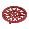 Minuteman 7″ Sunburst Cast Iron Red Trivet C-33R