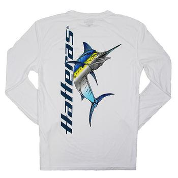 Performance Marlin L/S Tee - White w/Blue Logo