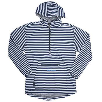 Ladies Anorak Striped Pullover - Navy / White