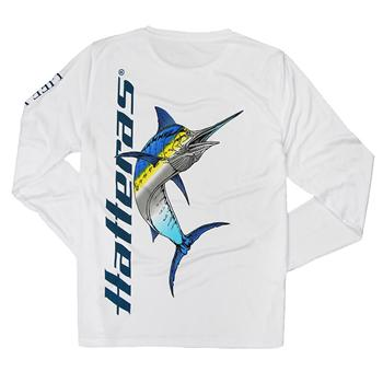 Ladies LS Performance Marlin Tee - White w/Blue