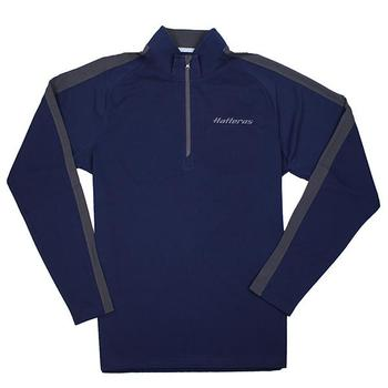 Textured 1/4 Zip Pullover - Navy / Iron Grey