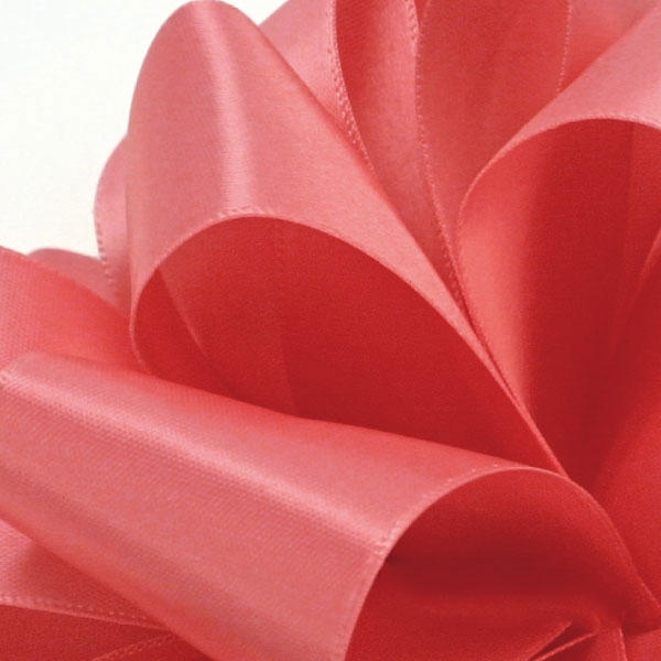 Single Face Satin Ribbbon Offray 210 Coral Rose 5 Widths