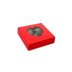 Chocolate Box Covers-3 oz.-1 Layer-Heart Window Red