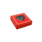 Chocolate Box Covers-3 oz.-1 Layer-Heart Window Red with Gold Trim