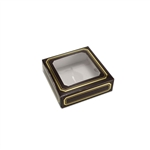 Chocolate Box Covers-3 oz.-1 Layer-Square Window Brown with Gold Trim