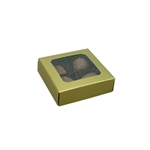 Chocolate Box Covers-3 oz.-1 Layer-Square Window Gold