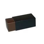 2 Truffle Candy Boxes in Brown with Black Sleeves