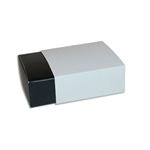 4 Truffle Candy Boxes in Black with White Sleeves