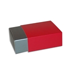 4 Truffle Candy Boxes in Pewter with Red Sleeves