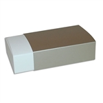 6 Truffle Candy Boxes in White with Champagne Sleeves