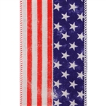 Patriot Glory Bee Ribbon on White Jute Wired