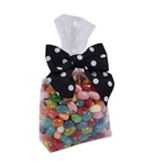 1 lb. Clear candy bags with white dots