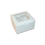 4 White Cupcake Boxes with Scalloped Window