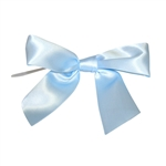 Pre-Tied Satin Twist Tie Bows - Light Blue 1-1/2""
