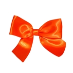 Pre-Tied Satin Twist Tie Bows - Orange 1-1/2""
