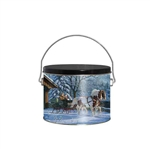 Half Gallon Popcorn Tin Pail - Winter Sleigh