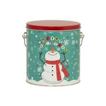 One Gallon Popcorn Tin Pail - Cheery Snowman