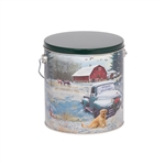 One Gallon Popcorn Tin Pail - Countryside Christmas