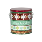 One Gallon Popcorn Tin Pail - Holiday Cheer