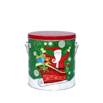 One Gallon Popcorn Tin Pail - Sparkly Santa