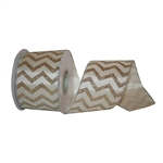 Wired Gold Chevron with Silver Trim Ribbon