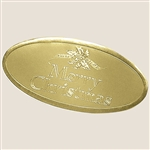 "3"" Gold Oval Merry Christmas Embossed Seals"