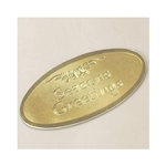 "3"" Gold Oval Season's Greetings Embossed Seals"
