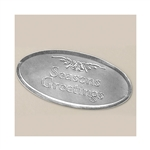 "3"" Silver Oval Season's Greetings Embossed Seals"