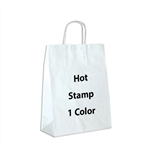 1 Color Hot Stamped Antelope White Kraft Paper Shopping Bag