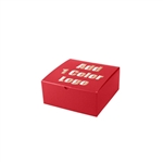 "Hot-Stamped 8"" x 8"" x 3-1/2"" Red Gift Boxes"