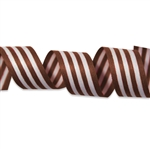 Brown and White Stripes Cotton Curling Ribbon