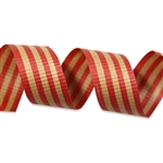 Red on Kraft Stripes Crimped Cotton Curling Ribbon