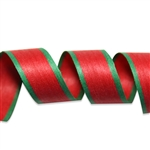 Red with Green Border Cotton Curling Ribbon