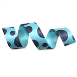 Aqua Blue Dots Cotton Curling Ribbon