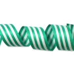 Holiday Green & White Stripes Cotton Curling Ribbon