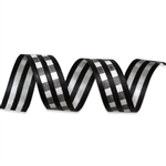 Black & White Gingham Cotton Curling Ribbon
