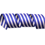 Blue & White Crimped Stripes Cotton Curling Ribbon
