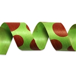 Red Dots on Lime Cotton Curling Ribbon