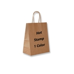 1 Color Hot Stamped Chimp Kraft Paper Shopping Bag