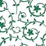 Wholesale Floral Counter Rolls - Deco Swirl Hunter Green Pattern