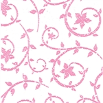 Wholesale Floral Counter Rolls - Deco Swirl Pink Pattern