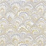Jeweler Gift Wrap Gold & Silver Feathers Pattern E-3420