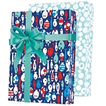 Shamrock Reversible Gift Wrap - Gone Fishin' E6352