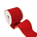 Embossed Wired Vel-Pruf - Holiday Red Flocked Ribbon