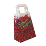 "Frosted Petite Reusable Poinsettia ""Season's Greetings"" Bags"