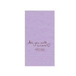 "Wedding Printed Guest Towel Napkins - Lavender - 4-1/4"" x 8-1/2"""