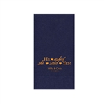 "Wedding Printed Guest Towel Napkins - Navy Blue - 4-1/4"" x 8-1/2"""